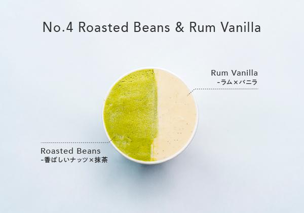 No.4ローストナッツ×抹茶とラムバニラのジェラート