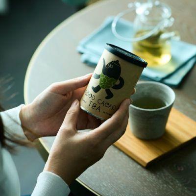 カカオ煎茶(缶)/カカオティー パッケージイメージ